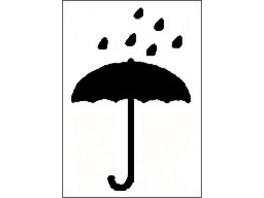 Transportetiketten mit Schirmsymbol