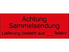 Transportetiketten mit Text